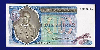 Congo Banknote 10 Zaires 1971 Pic15 Vf/xf Serie Aa Es-2