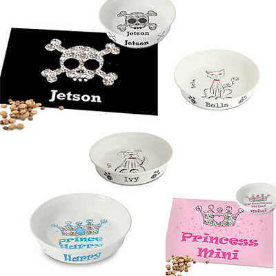 Personalised Cats Dogs Kittens Puppy Feeding Mats Bowl Dish Pet Gift
