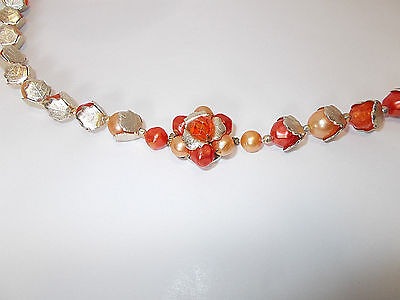 Vintage 1950's Hong Kong Orange Tone Faux Pearl with Silver Tone Leaf Accents