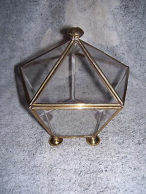 Vintage Footed Pentagon Glass Box Hinged Lid Gold Trim Great for Terrarium