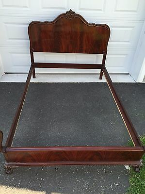 Flame Mahogany Bed Frame Ball and Claw Foot Vintage