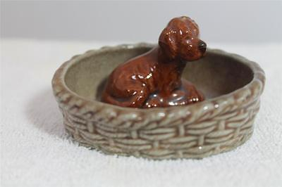 Wade Red Setter Puppy In A Basket Dish 1974 Dogs & Puppies - Vgc