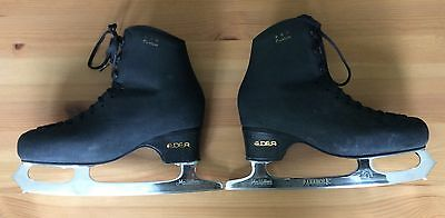 Black Edea Overture Ice Skates With Coronation Ace Parabolic Blades Size 255