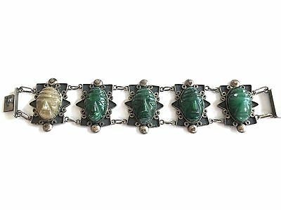 Vintage Mexico Taxco Sterling Silver Green Onyx Carved Aztec Mask Link Bracelet