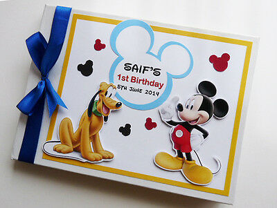 Personalised Mickey Mouse Boy/girl /first/1St Birthday Guest Book Any Design