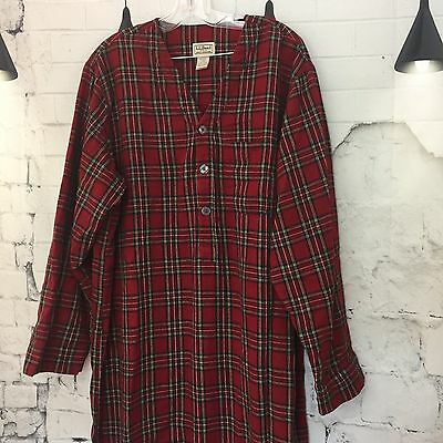 LL BEAN Red Plaid Long Flannel Nightshirt Mens L Large 100% Cotton