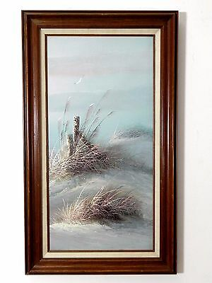 Beautiful Oil on Canvas Painting SEASCAPE LANDSCAPE Signed by Artist 17 X 29