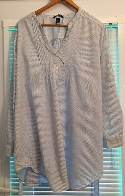 H&M Ladies Maternity Blue And White Striped Long Casual Tunic Top Size XL