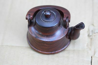 Small Asian Chinese or Japanese rosewood tea pot, old