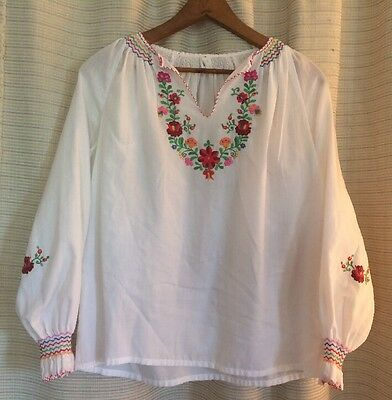 Vintage 60s 70s Embroidered Colorful Floral European Peasant Blouse Large