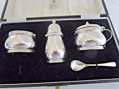 Cased Sterling Silver Cruet Set..Celtic Border..Birmingham 1963 - 1965..