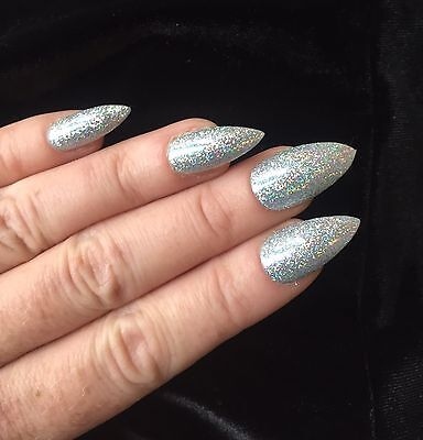 Hand Painted False Nails STILETTO silver Holographic Stick On Uk