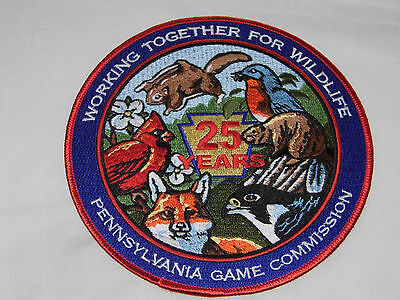 """PENNSYLVANIA PA GAME COMMISSION  PATCH WTFW 25 years 6"""" BEAUTIFUL PATCH"""