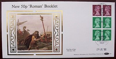 Benham Silk FDC D 46 New 50 p Roman Booklet   29/07/1986