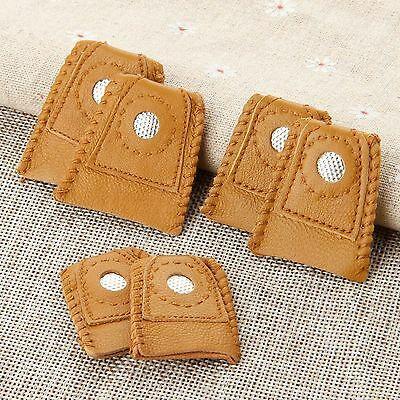 2Pcs Leather Thimble DIY Craft Sewing Tools Finger-Fit Protector with Metal Tip