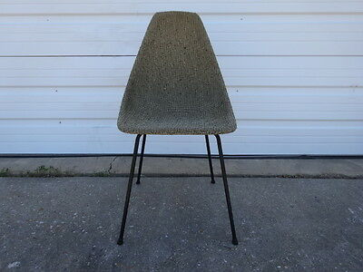 Vintage Mid-Century Modern Eames Style Houndstooth Grid Covered Side Shell Chair