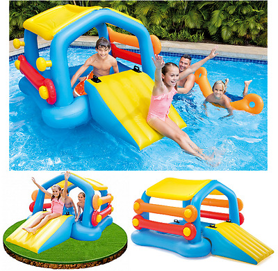 Inflatable Giant Floating Island Pool WaterSlide Float Raft Summer Party Fun Toy