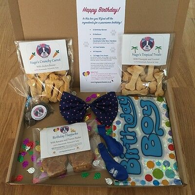 Handmade, Natural Gluten Free Dog Treat Birthday Gift Box - BOY