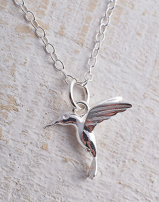 Sterling Silver 925 Hummingbird Humming Bird Pendant Chain Charm Necklace