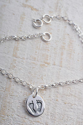 Sterling Silver 925 Footprints Foot Print Ankle Chain Bracelet Anklet Baby Feet