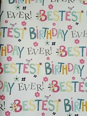 2 Sheets Of Thick Glossy General Female Birthday Wrapping Paper