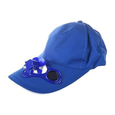 SS Solar Sun Power Hat Cap Cooling Cool Fan - Blue