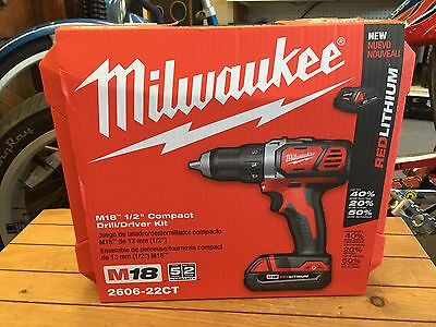 "Milwaukee 2606-22CT M18 1/2"" Cordless Compact Drill/Driver Kit - BRAND NEW"