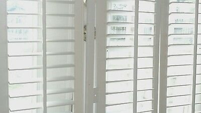 "INTERIOR SOLID WOOD PLANTATION SHUTTERS 28.5"" W x 52"" L 2 1/2"" LOUVERS  WHITE"
