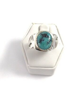 Native American Sterling Silver Navajo Handmade Turquoise Ring Size : 10