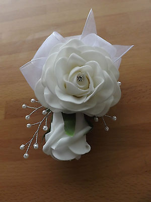 Wedding flowers Double white rose corsage/button hole pearls,organza bow