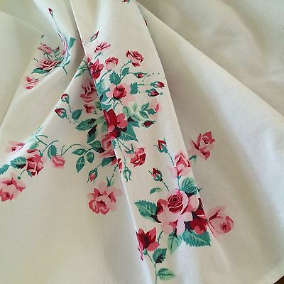 Vtg tablecoth WIDENDUR crisp white petite pink roses SHABBY COTTAGE CHIC large