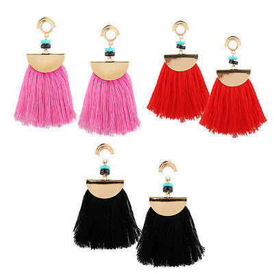 Trendy Women's Sector Tassel Dangle Earrings Sets with Alloy Resin Mixed Color