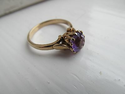 Stunning Deep Purple Vintage Amethyst Ring 9Ct Gold  A Beauty