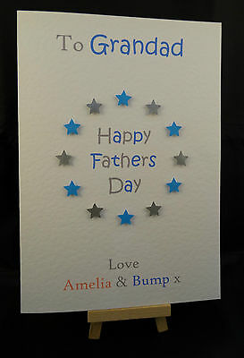 Personalised Handmade Fathers Day Card From The Bump - Dad Daddy,Grandad