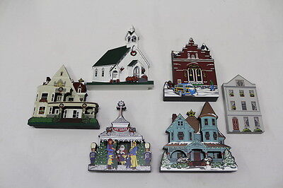Shelia's Collectibles Victorian Christmas Architectural Wood Houses (Lot of 6)