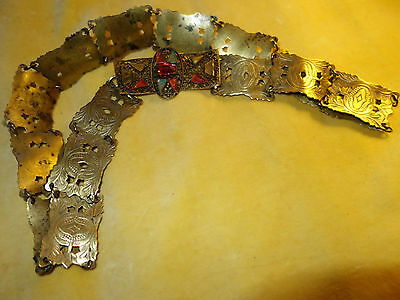 Victorian Edwardian Art Nouveau very small brass belt with Deco Buckle A/F