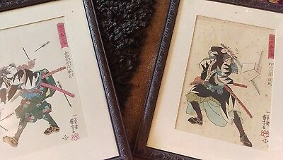 pair of antique,vintage japanese samarai pen and ink drawings signed