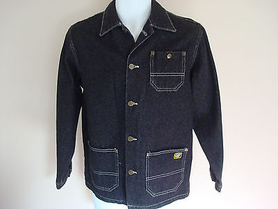 VTG CAT Caterpillar boys Denim barn chore Jacket Large USA black jean