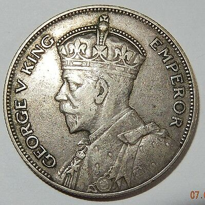 New Zealand 1934 Silver Half Crown EF~~ Free Shipping