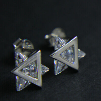 925 Sterling Silver Trillion Triangle Cubic Zirconia Stud Earring UK New 2.07g
