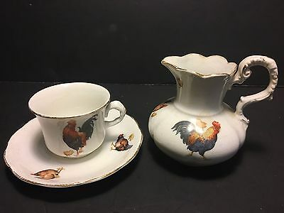 Rare~Countryside~Rooster Hens Chicks Teacup Saucer Creamer Kt&k Knowles Taylor