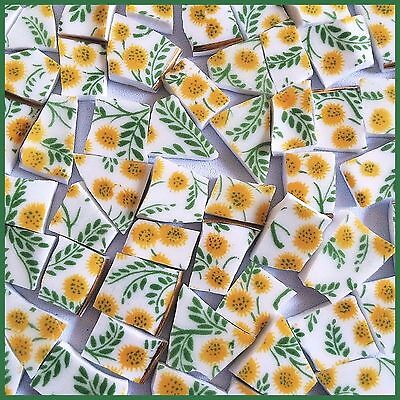 "65 BROKEN CHINA MOSAIC TILES~ 1/2"" VINTAGE! Yellow Pom-Pom Flowers Fern Leaves"