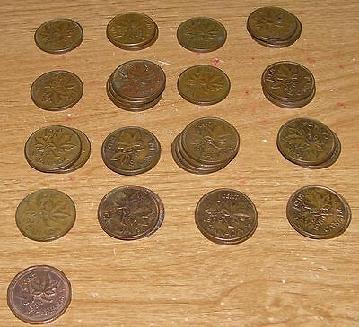 34 - Old Canadian Coin Lot 1 Cent Penny Pennies1960-1984