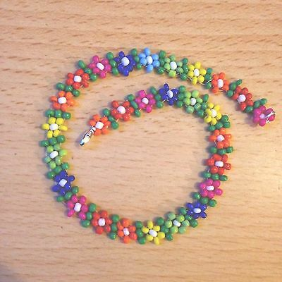 Beaded Anklet Czech Glass Seedbeads Flowers Daisy Rainbow