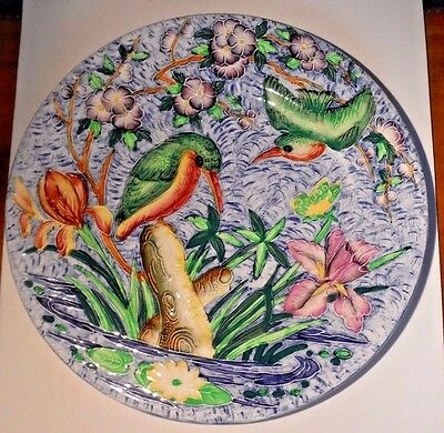 MALING / Large Decorative Plate / Majolica Birds and Flowers