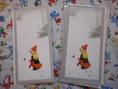 Six unused vintage/kitsch/retro 70's Christmas cards & envelopes - girl & robin