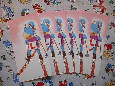 Six unused vintage/kitsch/retro 70's Christmas cards & envelopes - girl skiing