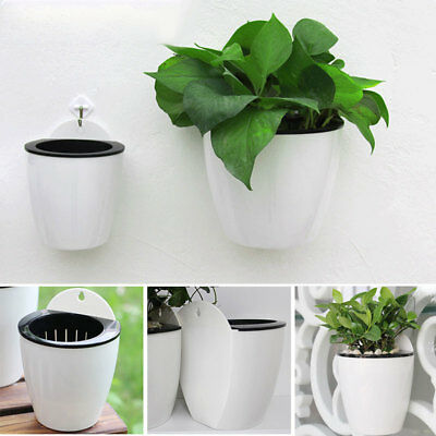Home Wall Hanging Self-watering Flower Pot Plastic Plants Balcony Planter