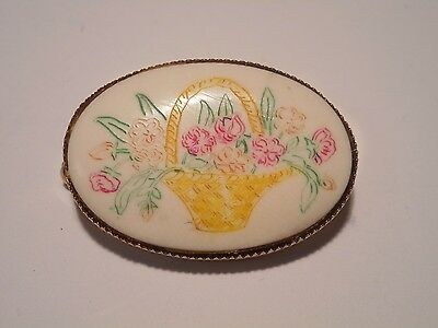 Vintage Scrimshaw Artist Hand Done Basket of Flowers on Bone Brooch Pin