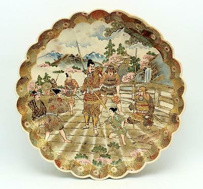 Antique Japanese Meiji Satsuma Hododa Lobbed Pottery Charger Plate Signed